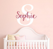 Nursery Hot Pink Sparkle Custom Name Wall Decal Sticker, 60cm W by 70cm H, Girl Name Wall Decal, Girls Name, Personalised, Name Decor, Girls Nursery, Girls Bedroom, PLUS FREE WHITE HELLO DOOR DECAL