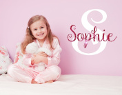 Nursery Hot Pink Sparkle Custom Name Wall Decal Sticker, 41cm W by 46cm H, Girl Name Wall Decal, Girls Name, Personalised, Name Decor, Girls Nursery, Girls Bedroom, PLUS FREE WHITE HELLO DOOR DECAL