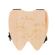 Vovotrade Tooth Box organiser for baby Milk teeth Save Wood storage box for kids Boy & Girl