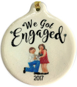 We Got Engaged 2017 Dated Porcelain Ornament Proposal Rhinestone Crystal Accent