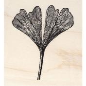 Split Ginkgo Leaf Rubber Stamp