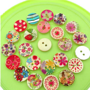 Promisen 100PCS Cute Printing Wood Buttons 2 Holes Mixed Colour For Sewing Scrapbook DIY Crafts