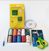 AMAZING SEWING KIT, POLYESTER THREAD 500 YDS ASSORTED 10 colours, & Extra 40 quality sewing pins -