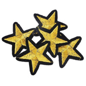 Yalulu 20Pcs Gold Star Embroidered Iron On / Sew On Badge Applique Patch For Clothing