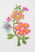 Pink Flower Crewel Embroidery Floral Needlecraft Iron Flowery Accessories Decor