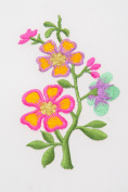Floral Pattern Crewel Embroidered Needle Craft Pink Flower Iron Cloth Accessory
