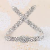 Crystal Rhinestone Appliques, 90cm x 4.8cm , Pearls Beaded Embellishments Trim Handcrafted Elegant Sewing Hot fix for DIY Wedding Bridal Belts Sashes Prom Dresses - Silver