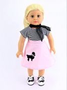 Classic Poodle Skirt Outfit | Includes Shirt,Shoes,Skirt, & Scarf| Fits 46cm American Girl Dolls, Madame Alexander, Our Generation, etc. | 46cm Doll Clothes