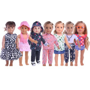 ZWSISU 46cm 7 Outfits Clothes American Girl Doll Accessories Set