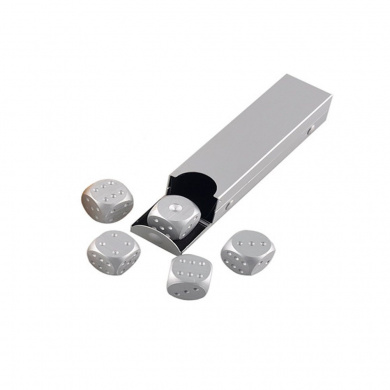GooGou Aluminium Alloy Dices 5 in 1 with Portable Rectangle Storage Container for Gift Souvenir Collection Tenzi Bunco Farkle Yahtzee Tables Board Drinking Poker Games Silver Grey
