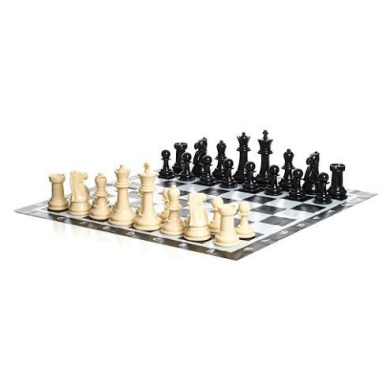 Uber Games Large Chess Pieces and Chess Mat - Black and White - Plastic - 20cm King