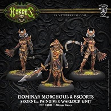 Hordes: Skorne Dominar Morghoul & Escorts Warlock Unit (White Metal)