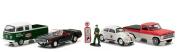 Motor World Diorama Texaco Vintage Gas Station 6pcs Set 1/64 by Greenlight 58037