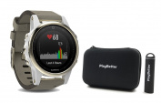 Garmin fenix 5S Sapphire (Champagne with Suede Band) Bundle with PlayBetter Portable Charger & Protective Hard Case | Multi-Sport GPS Training Watch, On-Wrist Heart Rate, Designed for Female Athletes