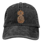 Leopard Print Pineapple Vintage Washed Dyed Cotton And Denim Hats Adjustable Baseball Caps Black