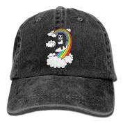 Pandas Surf Rainbows Vintage Washed Dyed Cotton And Denim Hats Adjustable Baseball Caps Black