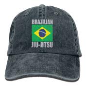 Brazilian Jiu Jitsu . Vintage Washed Dyed Cotton And Denim Hats Adjustable Baseball Caps Black