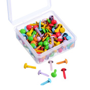 Willbond 150 Pieces Mini Brads Assorted Colours Round Brad Pastel Brads with Platic Storage Box for Scrapbooking Crafts Making Stamping and DIY