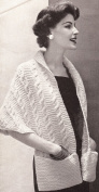 Vintage Knitting PATTERN to make - Knitted Warm Shawl Wrap Pockets. NOT a finished item. This is a pattern and/or instructions to make the item only.