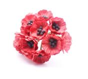 RED 50 Mulberry Paper Poppy Flower Wedding Card Craft 2 cm.