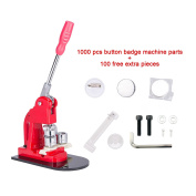 """Pinty 1"""" 25mm Button Badge Maker Machine + 1,000 Badges + Circle Cutter + Extra 100 Buttons"""