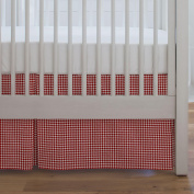Carousel Designs Red Houndstooth Crib Skirt Single-Pleat 43cm Length - Organic 100% Cotton Crib Skirt - Made in the USA