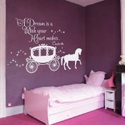 Wall Decal Decor Cinderella Quote - A dream is a wish your heart makes Wall Decal with Princess Carriage for Girls Nursery Baby Gift Kids Decal