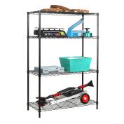 Tidy Living - 4 Tier Wire Shelf Heavy Duty Storage Organisation Rack - Black