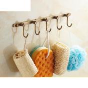 Antique Hook full copper/Continental hook/hook up/Bathroom Hook/hook/all-copper5hook/Coat hook after the door-