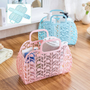 HUELE Foldable Simple life Thick Plastic Storage Basket Desktop Bathroom Family Sundries Drain Storage Basket