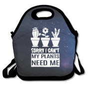Black SORRY I CAN'T MY PLANTS NEED ME Lunch Tote Bag For Man And Woman