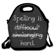 Black Spelling Is Hard Difficult Lunch Tote Bag For Man And Woman