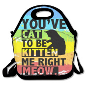 Black Are You Kitten Me Right Meow Sketch Lunch Bag For Man And Woman