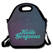 Black Hello Gorgeous Lunch Tote Bag For Man And Woman