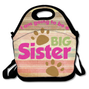 Black Puppy Paws Going To Be A Big Sister Lunch Tote For Man And Woman