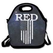 Black Red Friday Vintage Flag Lunch Tote Bag For Man And Woman