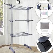 BonBon 3 Tier Clothes Drying Rack Folding Laundry Dryer Hanger Compact Storage Steel Indoor Outdoor