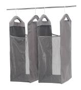 StorageManiac Hanging Mesh Laundry Hamper, Door-Hanging Laundry Bag, Closet Organiser, 2-Pack, Grey