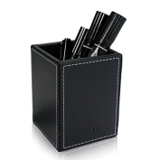 Yaekoo PU Leather Square Pens Pencils Cup Holder Desk Organiser Office Desk Accessories Container Box