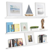 Wall Mount Living Room 120cm Floating Shelves Picture Display Ledges Set of 3 White
