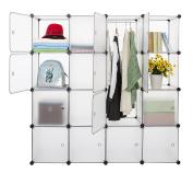 Finnhomy DIY 16 Interlocking Storage Cube Closet with Door, Cube Storage Organiser, Open Closet, Bookcase, Wardrobe, Storage Cabinet for Clothes, Shoes, Toys, Magazines, DVDs, CDs, Cushion
