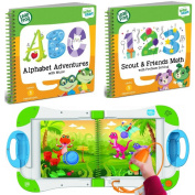 LeapFrog LeapStart Interactive Learning System Preschool and Pre-Kindergarten for Kids . -4+ Alphabet and Music & Scout & Friends Math Learning Basic Skills Books Fun Activity Bundle Set