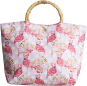 Lunch Tote Pink Flamingo W/Bamboo Handles