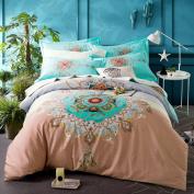 Abreeze Teal Shabby Floral Girls Duvet Cover Set Bohemian Bedding Set Full Size 4PCS