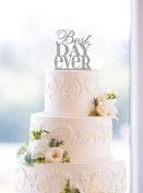 Glitter Best Day Ever Wedding Cake Topper in Traditional Fonts ¨C Custom Wedding Cake Topper.