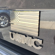 US Flag Metal Emblem - Black Chrome