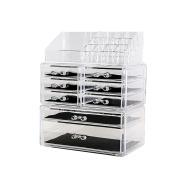 DreamGenius Makeup Organiser 3 Pieces Acrylic Cosmetic Storage Drawers and Jewellery Display Box