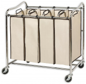 SimpleHouseware Heavy-Duty 4-Bag Laundry Sorter Cart, Chrome