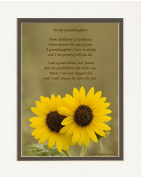 """Granddaughter Graduation Gift, Sunflowers Photo with """"From Childhood to Graduate"""" Poem, 8x10 Double Matted. Special Keepsake Graduation Gifts for Granddaughter, Unique College - High School Grad Gifts"""