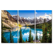 3 Pieces Modern Canvas Painting Wall Art For Home Decoration Morain Lake And Mountain Range Alberta Canada Landscape Mountain & Lake Print On Canvas Giclee Artwork For Wall Decor